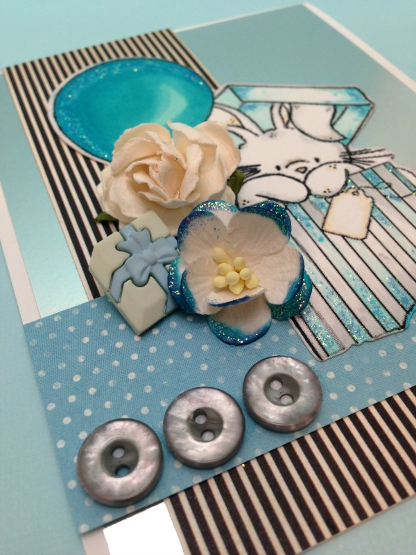 Bebunni Blue Birthday buttons and flowers