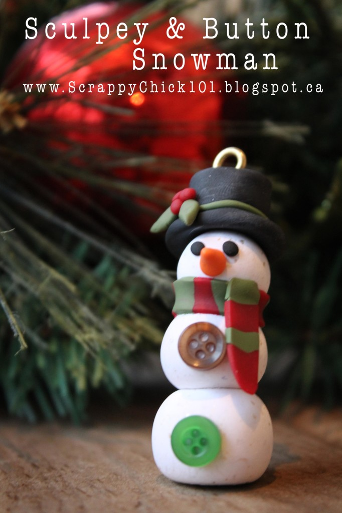 Sculpey and Button Snowman, clay snowman