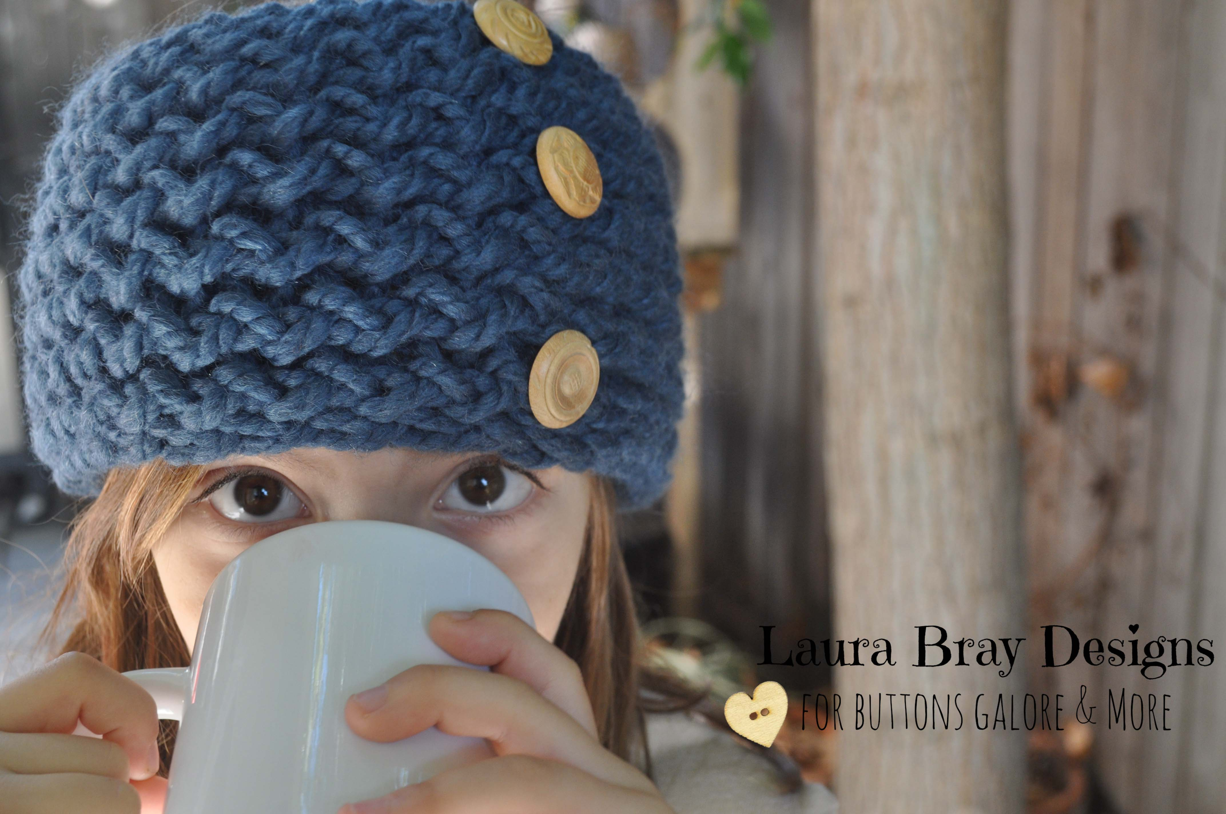 Knit Headband with Wood Buttons