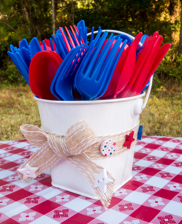 Patriotic Button Utensil Bucket