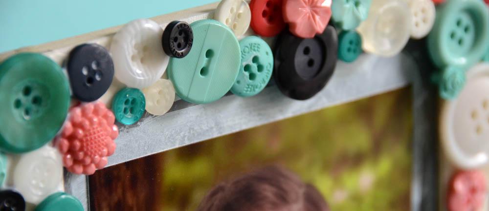 May Flaum button frame close up