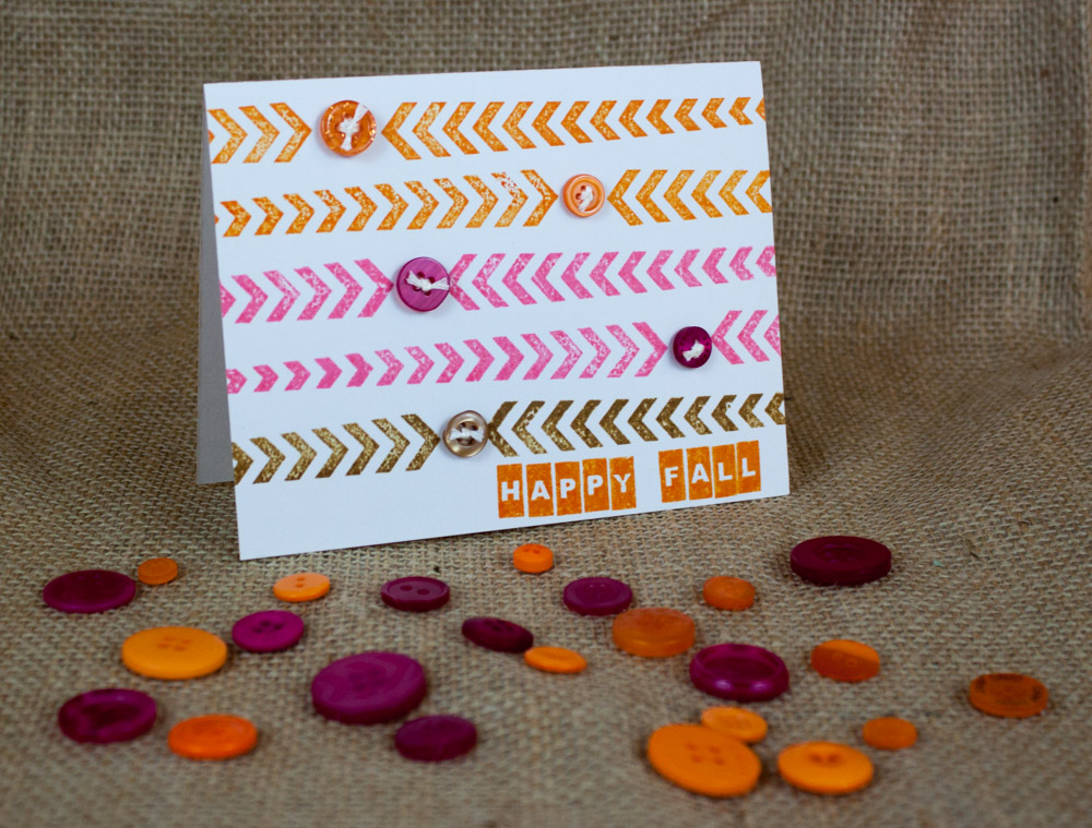 Happy Fall card by Nancy Nally for Buttons Galore
