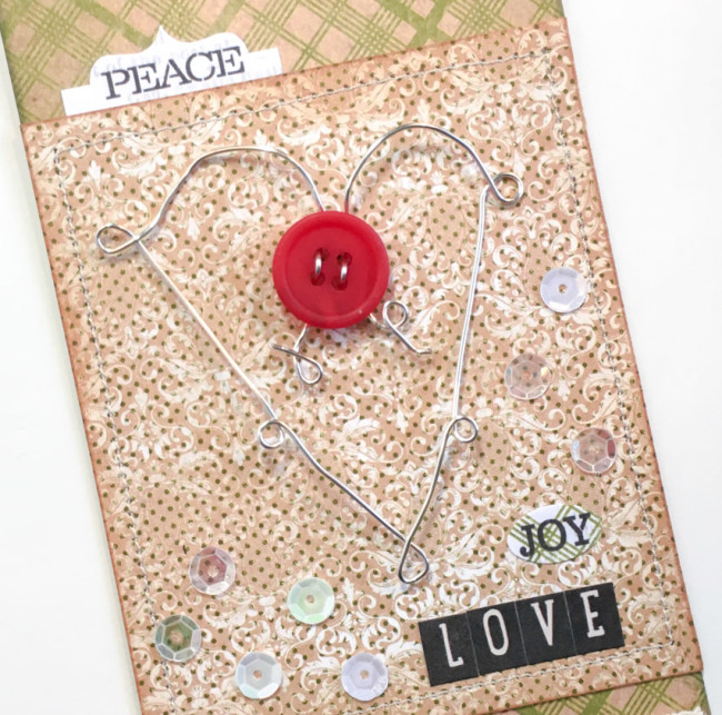 Christmas Gift Tag with wire heart