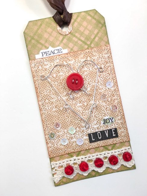 Embellished Christmas Gift Tag by Nancy Nally for Buttons Galore & More