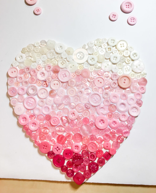 Ombre Heart buttons finished