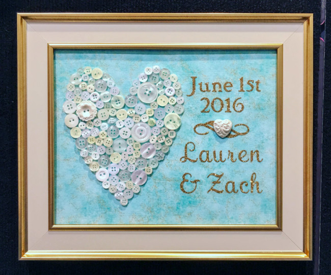 DIY Wedding Frame with button heart