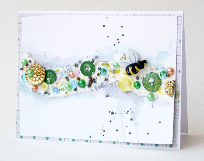 Mixed Media spring card by Ashli Oliver for Buttons Galore