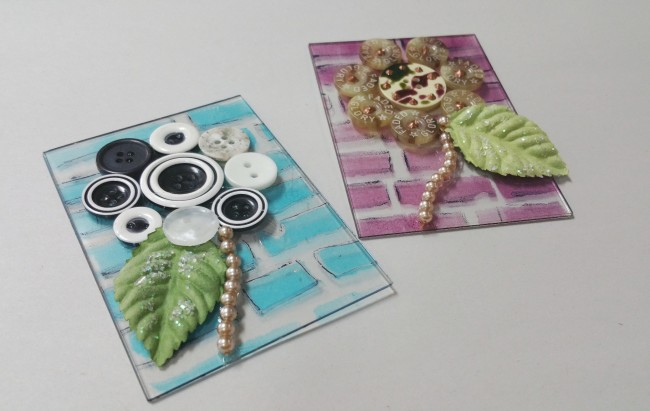 ATC cards with fun button flowers by Candy Rosenberg on acrylic ATC cards