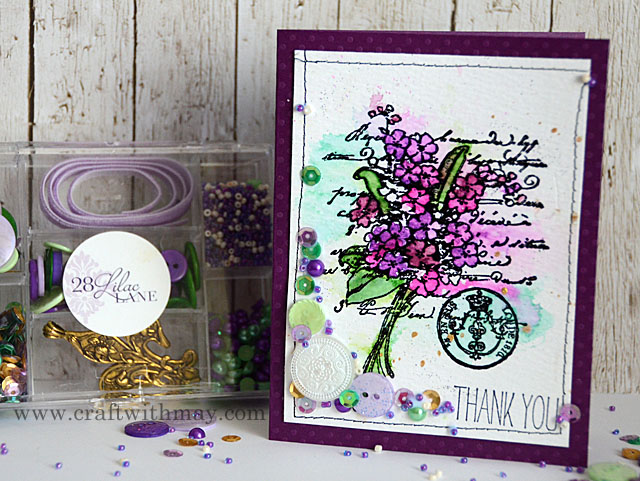 28 Lilac Lane card with watercolor