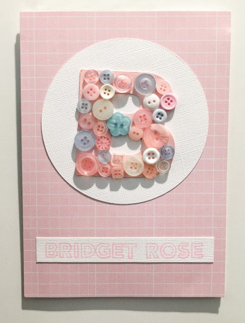Button Monogram Baby Card