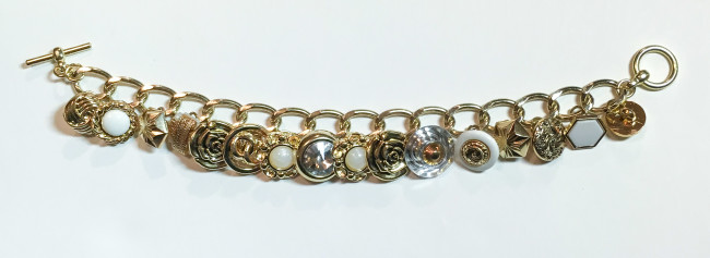 gold button charm bracelet