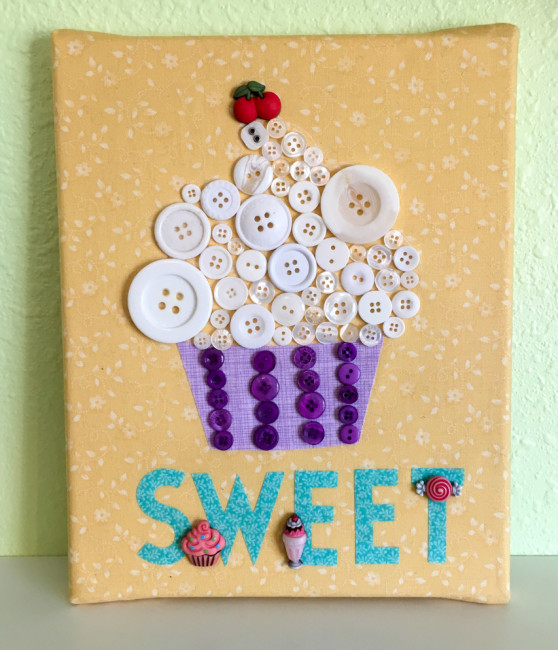 Button Cupcake Canvas. Great home decor for celebrating a special occasion or for kitchen decor.