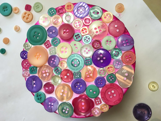 Buttons glued to wood trinket box lid