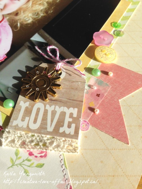 Scrapbook layout embellishment close-up