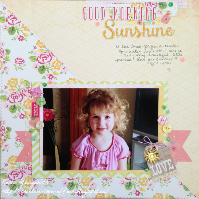 Sunshine scrapbook layout using 28 Lilac Lane embellishment by Karla Yungwirth