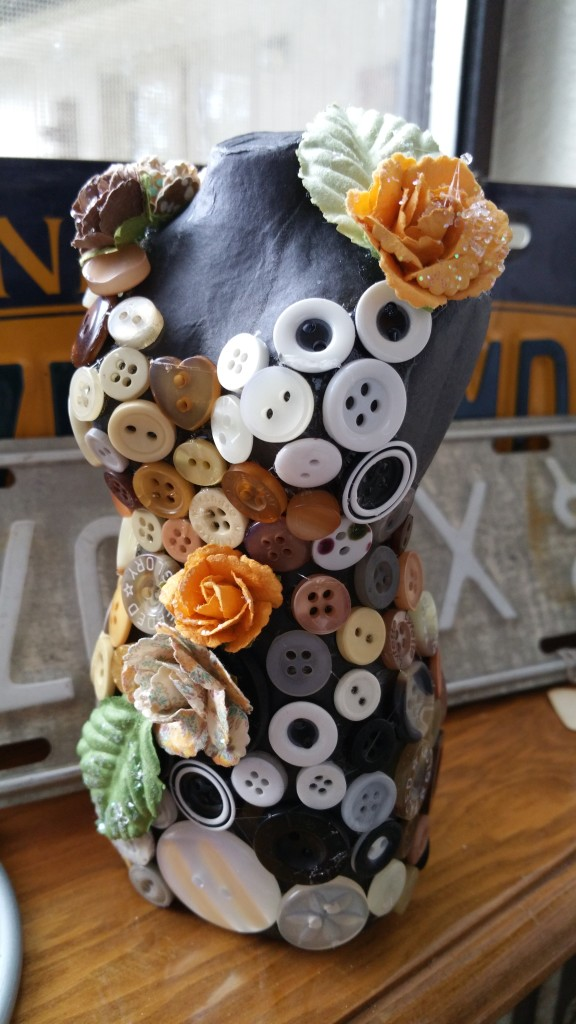 Button Decorated Dress Form
