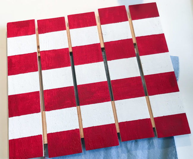 Finished flag stripes on pallet