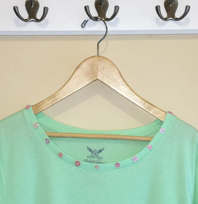 Embellish a T-shirt Neckline with Buttons