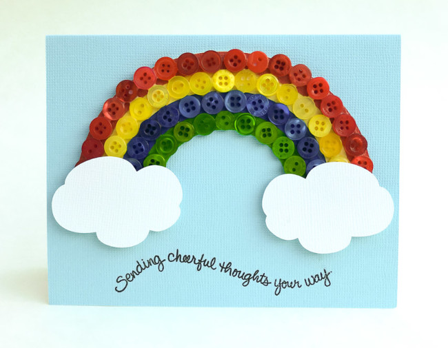 This happy button rainbow card is perfect to bring cheer for any occasion.