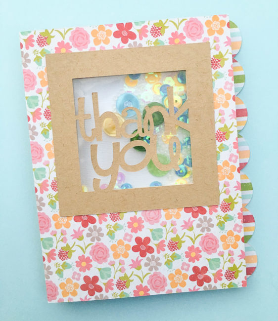 thank you shaker card with 28 Lilac Lane embellishments