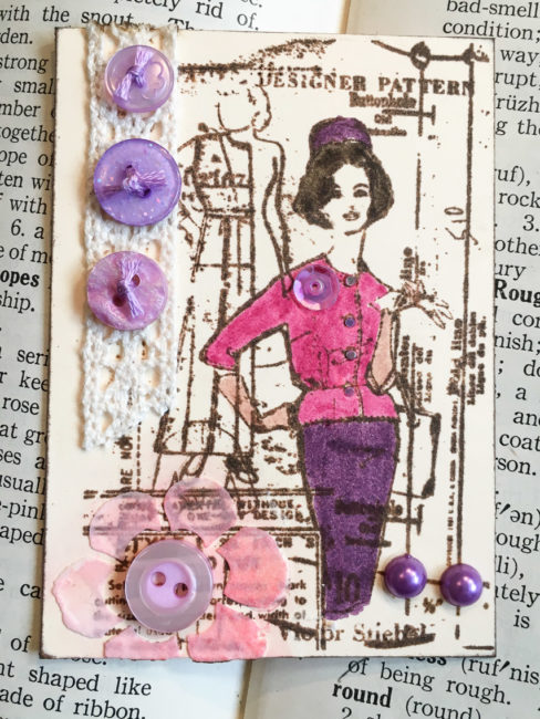 Feminine Artist Trading Card with Buttons