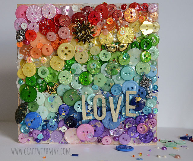Rainbow Love Canvas with buttons by May Flaum