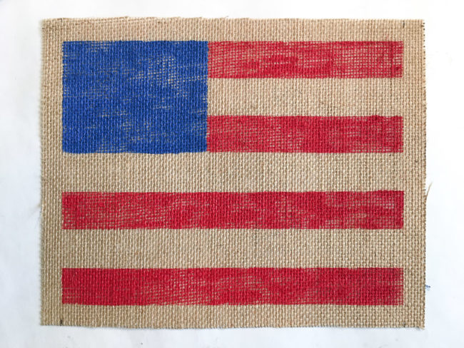 Painted Rustic Flag on Burlap