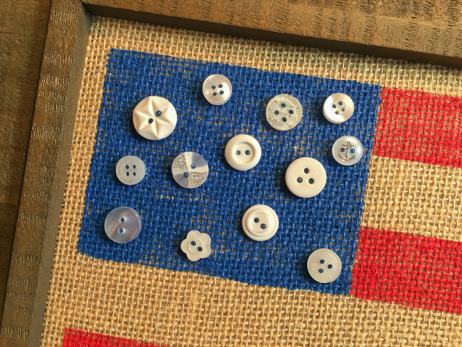 Flag buttons close-up