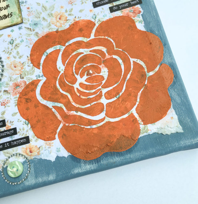 Stenciled Rose on Mixed Media Canvas