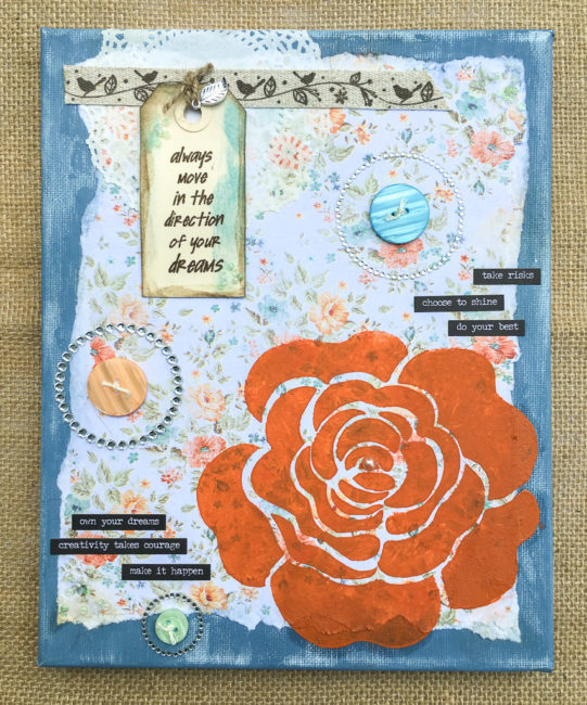Inspirational Mixed Media Canvas by Nancy Nally using 28 Lilac Lane