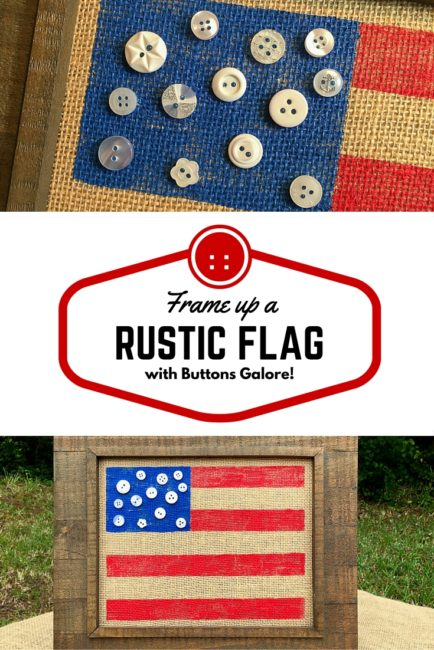 Rustic Flag frame is great home decor for the 4th of July! Created by Nancy Nally for Buttons Galore.