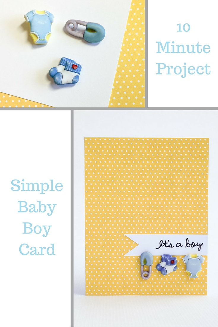 Simple Baby Boy Card using 3D buttons by Nancy Nally for ButtonsGaloreAndMore.com - great quick baby shower card or to welcome baby!