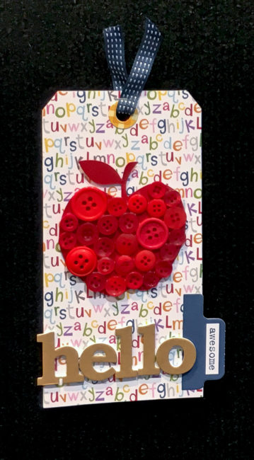 Back to School tag with button collage | Nancy Nally for ButtonsGaloreAndMore.Net
