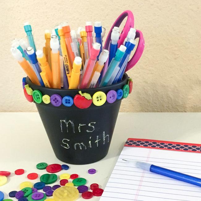 Back to School Flower Pot Pencil Holder for teacher gift or classroom decor. | Nancy Nally for ButtonsGaloreAndMore.com
