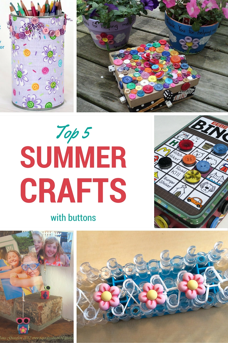 Top 5 Summer Crafts with buttons by Buttons Galore