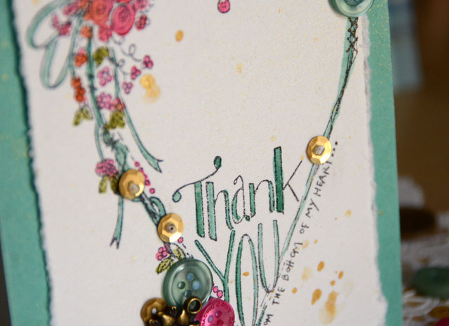 "Thank you card by May Flaum using 28 Lilac Lane Limited Edition ""Fall Mix"" from Buttons Galore & More"