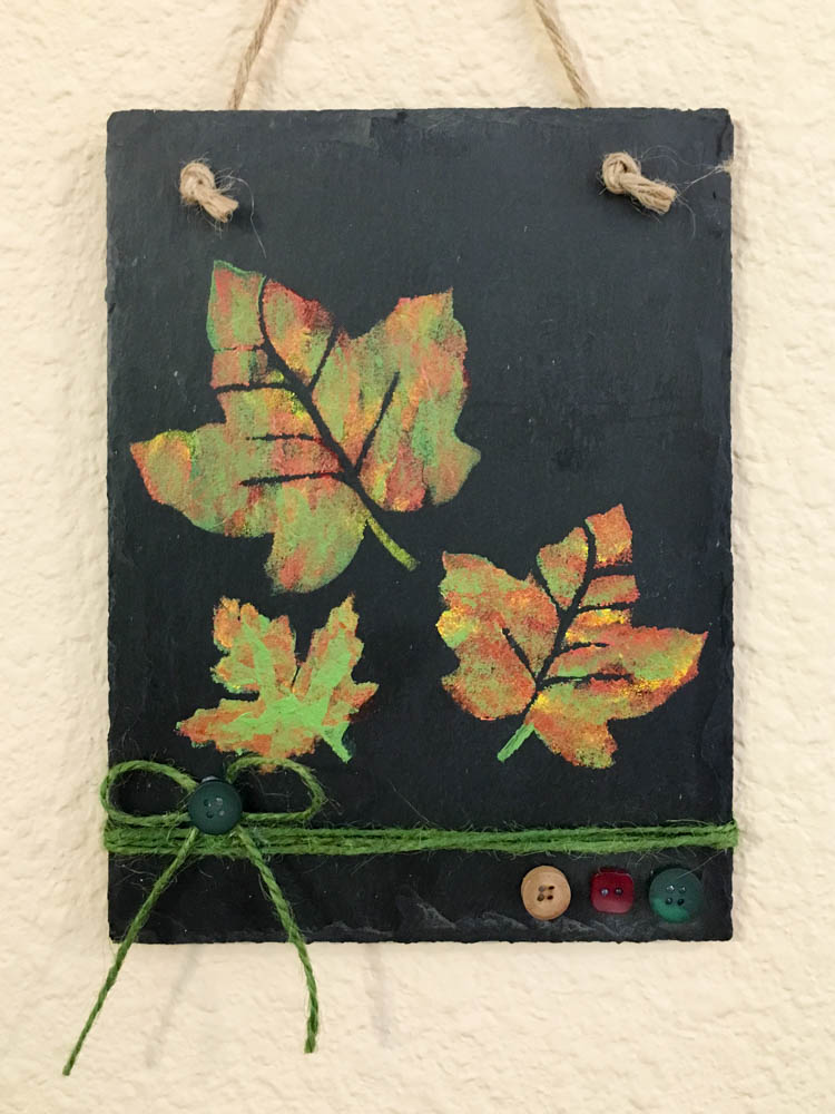 Painted Leaves on Slate