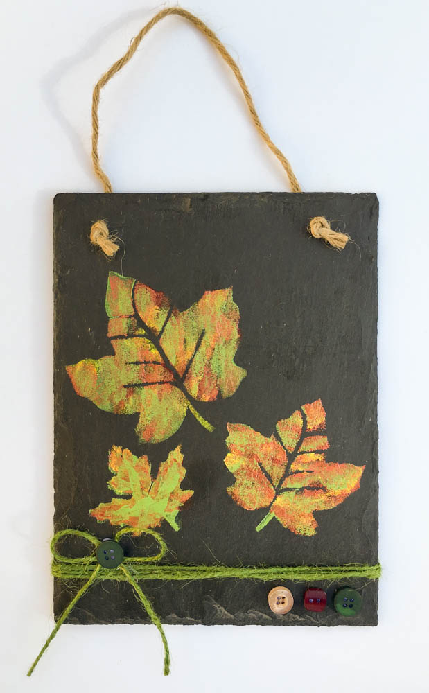 Painted Leaves on Slate Tile