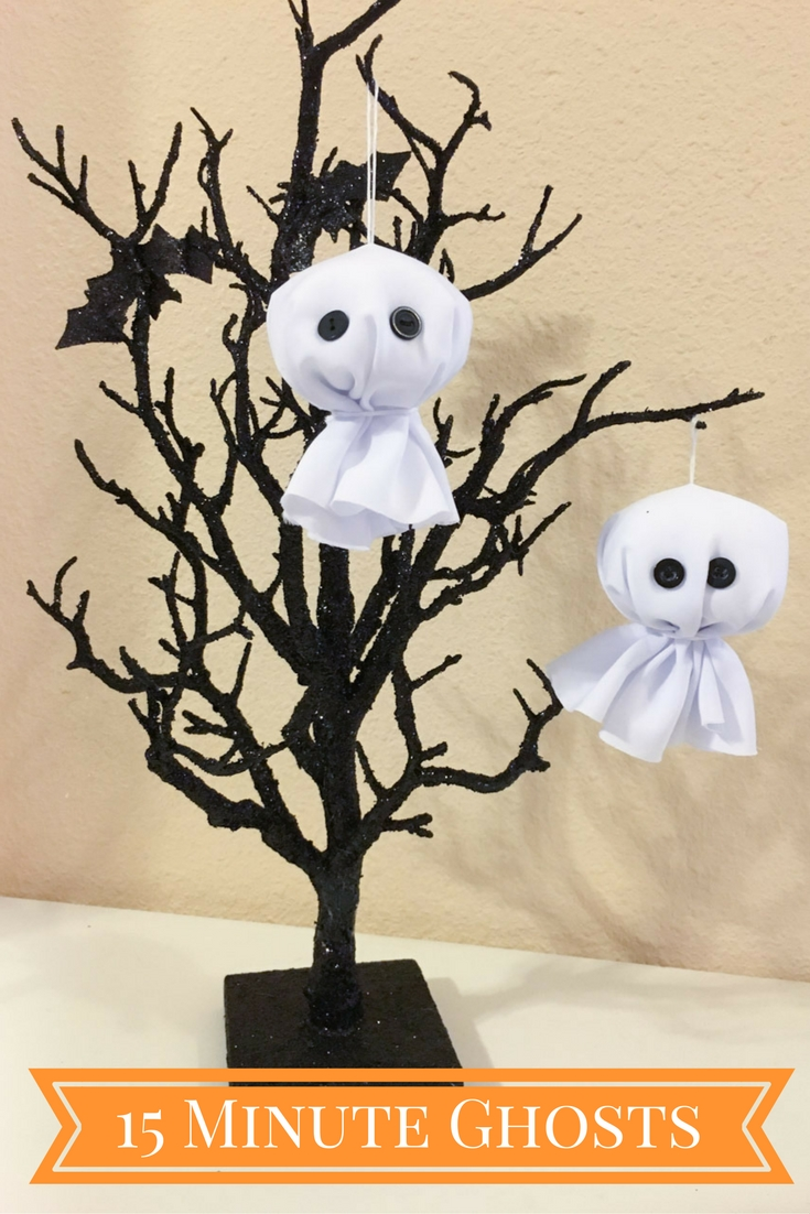 Make cute ghost ornaments in 15 minutes! | by Nancy Nally for buttonsgaloreandmore.com