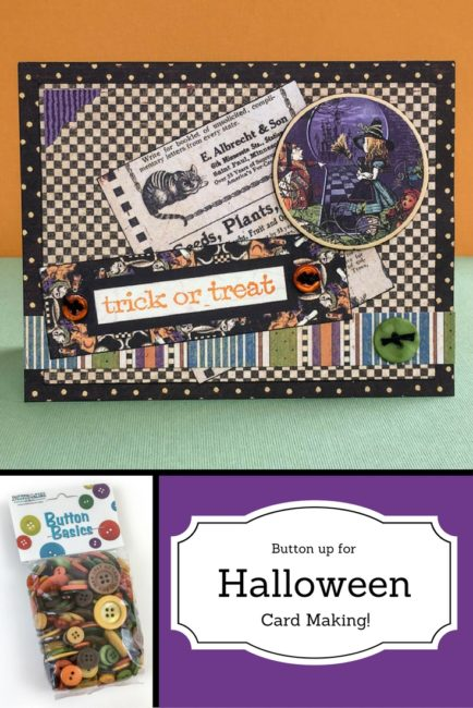 Halloween card with Fall Festival buttons and Graphic 45 papers | by Nancy Nally for Buttons Galore