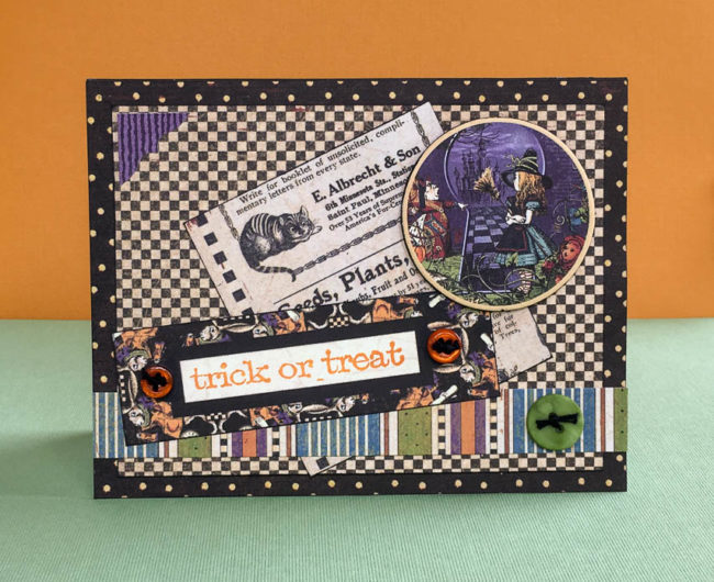 Trick or Treat halloween card by Nancy Nally for Buttons Galore