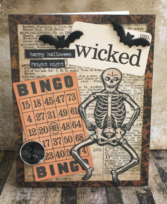 Wicked Halloween card with bat buttons by Nancy Nally for Buttons Galore
