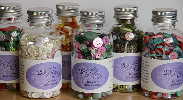 new 28 Lilac Lane embellishment bottles for fall 2016 from Buttons Galore & More!