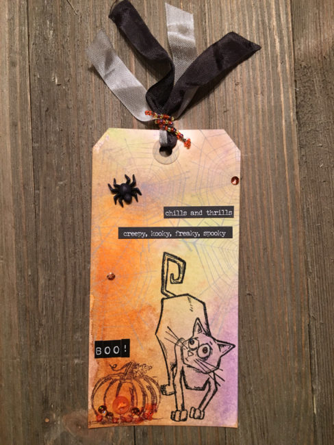 Scaredy Cat Halloween Tag by Nancy Nally for Buttons Galore