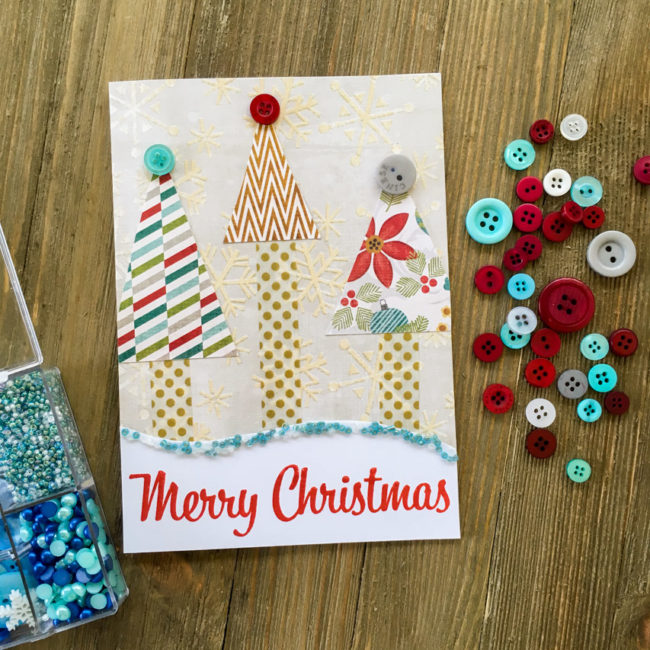 Retro Merry Christmas Card by Nancy Nally for Buttons Galore
