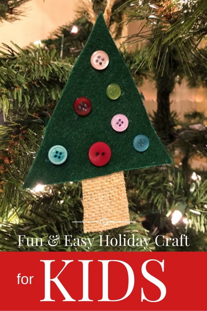 Felt Christmas Tree Ornament for kids of all ages - easy and fun! Great for family parties or class activity. | www.buttonsgaloreandmore.net