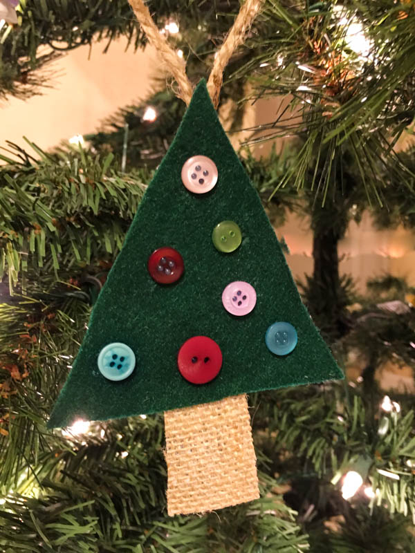 Felt Christmas Tree Ornament with buttons