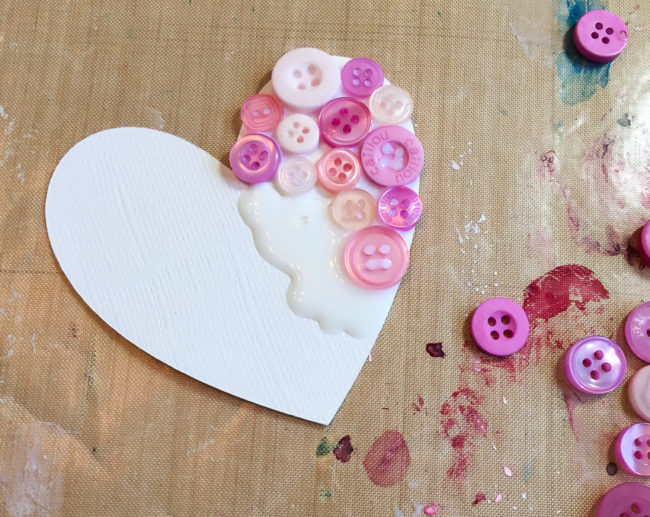 Constructing Button Collage Heart