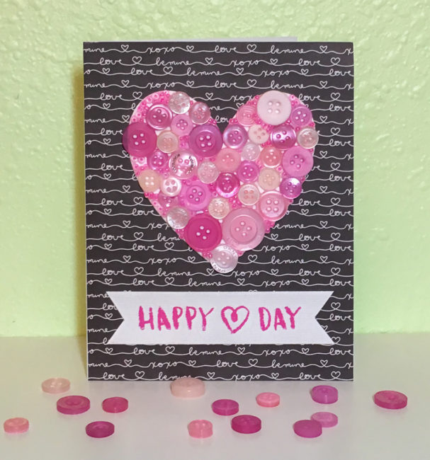 Button Collage Heart Card