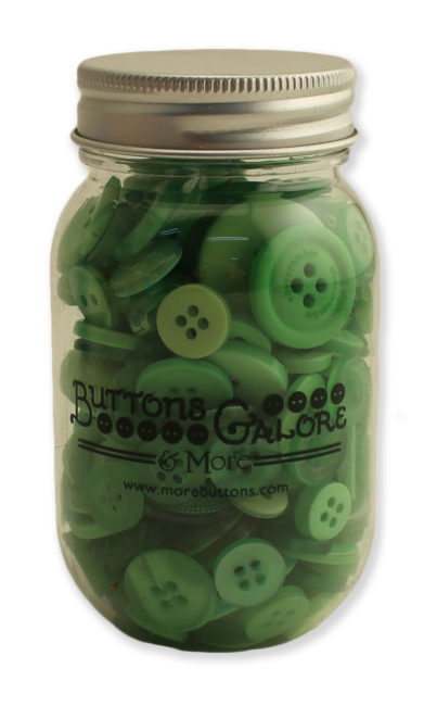 Greenery Button Mason Jar by Buttons Galore